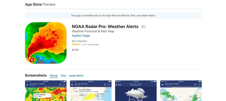 NOAA Radar Pro app