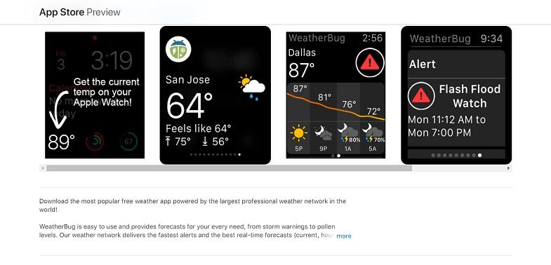 Weather Bug app feature