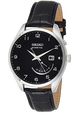 Seiko kinetic leather watch
