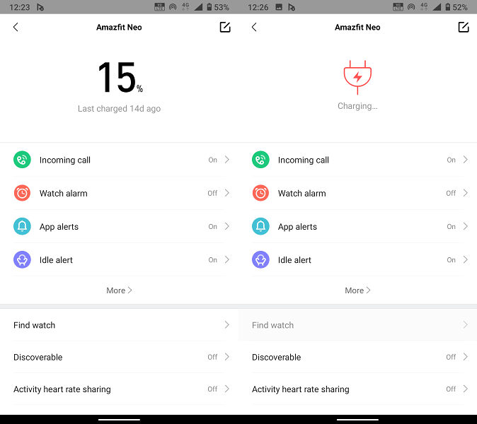 Battery life on Amazfit Neo and charging time Zepp app