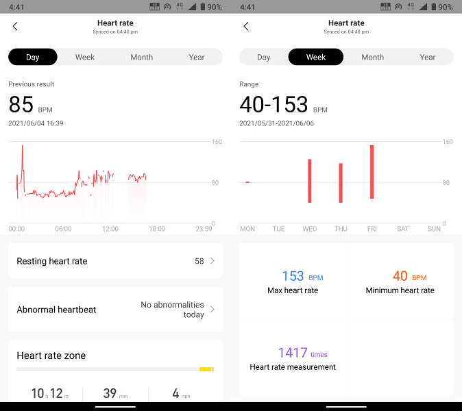 Heart rate tracking on Amazfit neo