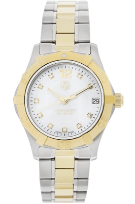 aquaracer gold and diamond tag heuer watch