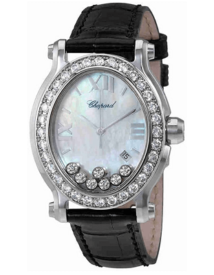 diamond watch with oval dial