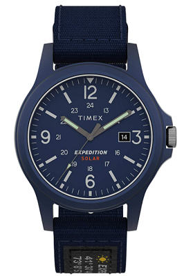timex solar watch with sweeping second hands